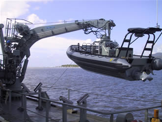 A boat crane deploying a rescue boat