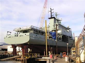 HMAS Melville on a slip