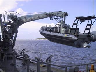 A boat crane deploying a rescue boat